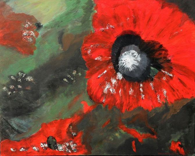 auge der erde 80 x 100 rot, grün - Vulkanausbruch des Kilimandscharo aus der Vogelperspektive
