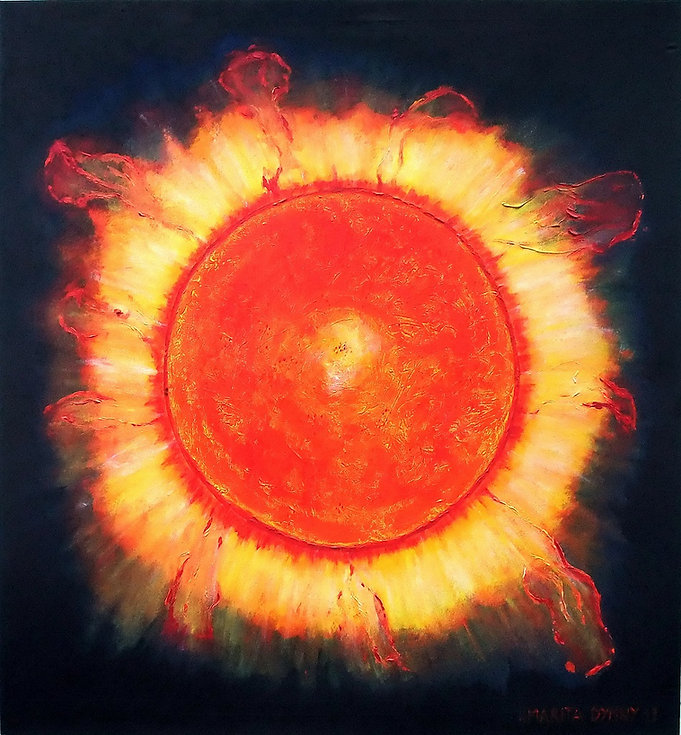 Erupcion 145 x 135 rot-orange-gelb-gold und nachtblau - Sonneneruption im Nachthimmel