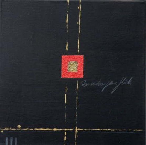 das verborgene glück 40 x 40 rot , schwarz , gold
