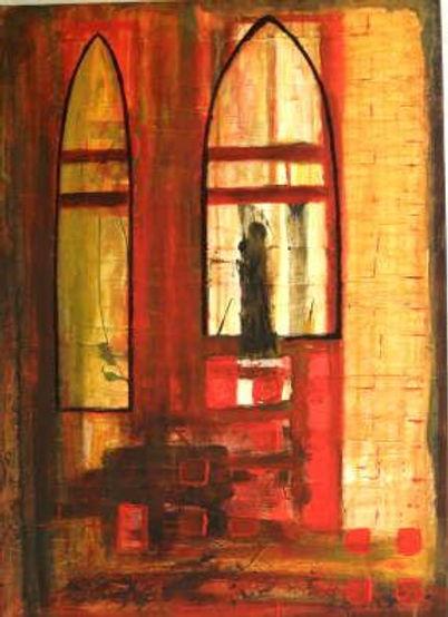 """maria im kapitol 70 x 50 rot, orange, beige, ocker, schwarz - Dieses Bild war Teil einer Ausstellung. Die gesamte Etage in der sich das Bild befand wurde von einem Brand zerstört. """"Maria im Kapitol"""" hat das Feuer unbeschadet überstanden. - DiesesBild wurde zwischenzeitlich von Marita Katharina Dymny als Schenkung  dem Hospiz in Köln-Porz-Urbach überreicht."""