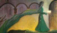 beherrscht 80 x 140 ocker, grün, grau, schwarz mit Blattgold