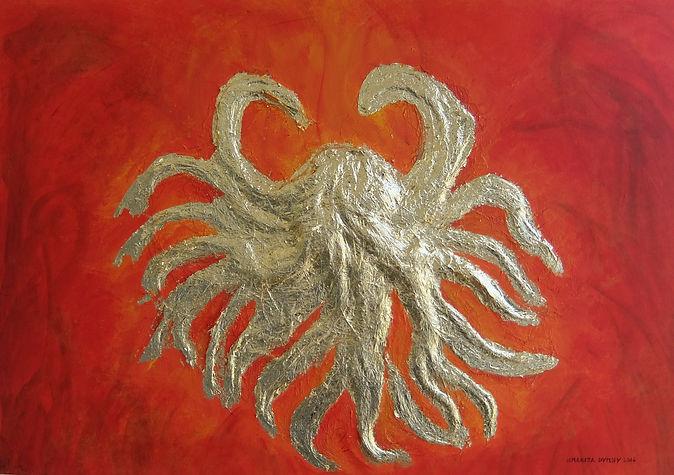 feuertanz 50 x 70 orangerot, Haare mit Blattgold - Züngelnde Flammen kreiert aus Haaren und Blattgold.