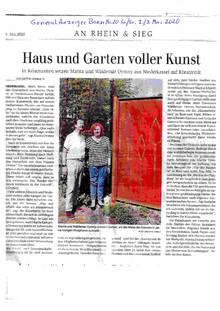 Haus und Garten voller Kunst - Artikel im GeneralAnzeiger 2./3. Mai 2020