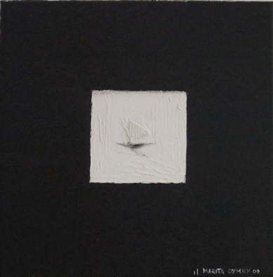 Segelschiff 30 x 30 schwarz, weiß mit Spiegelelementen