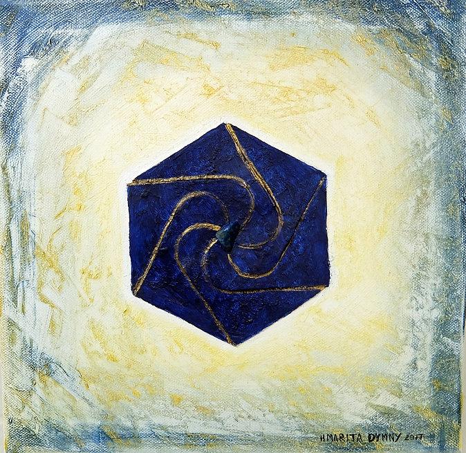 """OPTIMISMUS 30 x 30 Blau-Gold-Weiß-Töne mit Lapislazuli - Optimismus leitet sich von """"Optimum"""" ab und bedeutet """"Das Beste"""". Nehmen Sie stets eine heitere, zuversichtliche und lebensbejahendeGrundhaltung ein und betrachten Sie ihr Leben mit mehr Leichtigkeit und Positivität."""