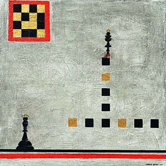 spiele 90 x 90 schwarz, grau, weiß, rot, gold, ocker mit Blattgold