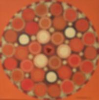RUHE 40 x 40 gelb mit braun-goldauf orange und roter Jaspis - Ruhe inmitten des Chaos - eine Insel der Entspannung.