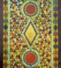 mosaico 140 x 130 orange-gelb, gold -grün-braun Töne, mit Blattgold - Inspiriert durch die Mosaikböden im Dom San Marcoin Venedig.