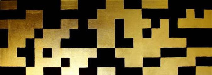 fries i 40 x 120 schwarz, Blattgold - Geometrie und Symetrie