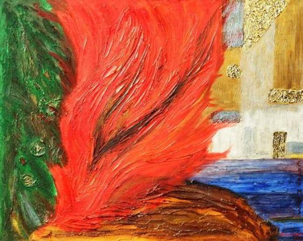 die elemente 80 x 100 rot, blau, grün, weiß, grau, braun mit Kohle- und Holzstücken und Blattgold - Feuer, Erde., Wasser, Luft, Metall - Sie dürfen in Ihrem Element sein.