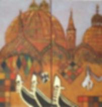 venedig 2 je 30 x 30 braun-bunt mit Blattgold - Venedig, die Stadt der Liebe - aber auch die Stadt Kuppeln, Türme undder Kunst. Marita Dymnys Werk enthält diesen Hinweis, z. B. in Form des 2,50 mtr. großen weißen Jungen, der einen Frosch in der Hand hält. Kunstkenner Jerry Saltz hat hierüber einmal berichtet.