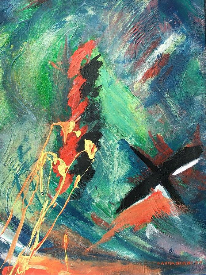 feuerwerk 60 x 40 grün, blau, orange, schwarz, weiß, rot