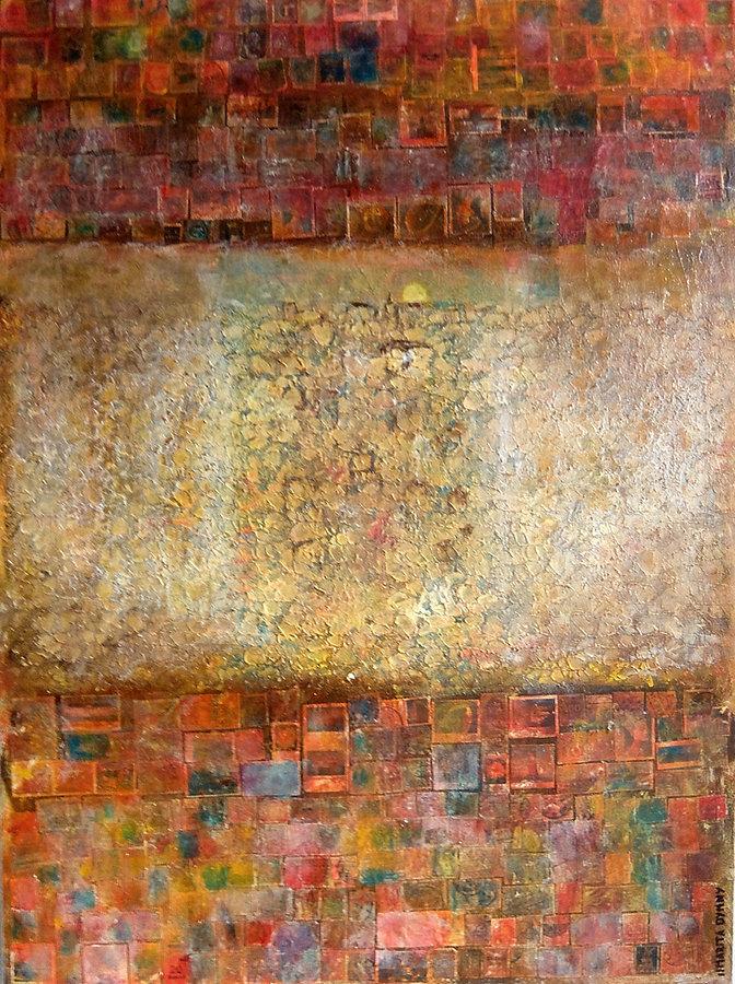 stille Post 80 x 60 Alte Briefmarken, Struktur auf Acryl