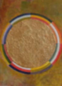 JOY I 45x 30 regenbogenfarben auf oliv mit Palmfasern und Blattgold - Sonne, Freude, Leichtigkeit ... Regenbogenstimmung