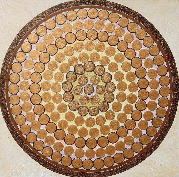 LICHTRAD 100 x 100 weißgrau-gold, Papier, Palmfaser - Ein Lichtrad reflektiert das Sonnenlicht und dreht sich im Kreis der Reflexionen.
