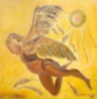 ikarus 100 x 100 gelb, ocker, braun mit Blattgold - Wegen Verrats verbannte KönigMinosIkarus und Dädalus imLabyrinthdesMinotaurosaufKreta. Da Minos die Seefahrt und das Land kontrollierte, erfand Dädalus Flügel für sich und seinen Sohn, indem er Federn mit Wachs an einem Gestänge befestigte. Vor dem Start schärfte er Ikarus ein, nicht zu hoch und nicht zu tief zu fliegen, da sonst die Hitze der Sonne beziehungsweise die Feuchte des Meeres zum Absturz führen würde.    Aber als alles gut lief, wurde Ikarus übermütig und stieg so hoch hinauf, dass die Sonne das Wachs seiner Flügel schmolz, woraufhin sich die Federn lösten und er ins Meer stürzte. Der verzweifelte Dädalus benannte die Insel, auf der er seinen Sohn beigesetzt hatte, zur Erinnerung an sein KindIkaria.