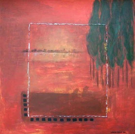 nur noch erinnerung 100 x 100 rot-orange, schwarz, weiß