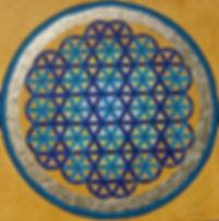 """Lebensblume1 80 x 80 Blautöne (Element Wasser, Brauntöne (Element Erde), Palmfasern mit Blattgold. - Blattgold ist der kostbarsteBodenschatz und spirituell gesehen die höchste energetische """"Farbe"""".    Blau ist in der Auralehre die Farbe desHals-Chakras und steht für Kommunikation und den individuellen Ausdruck nach außen."""