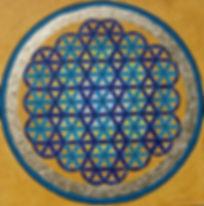 """Lebensblume1 80 x 80  Blautöne (Element Wasser, Brauntöne (Element Erde), Palmfasern mit Blattgold belegt (kostbarster Bodenschatz und spirituell gesehen die höchste energetische """"Farbe"""") - Blau ist in der Auralehre die Farbe desHals-Chakras und steht für Kommunikation und den individuellen Ausdruck nach außen.  Die """"Blume des Lebens"""" oder auch """"Lebensblume verkörpert die kosmische Ordnung - die Bausteine des Lebens. Auch Leonardo da Vinci befasste sich intensiv mit ihrer Geometrie, ohne ihr jedoch einen Namen zu geben.  Spirituell gilt sie als beschützendes und harmoniebringendes Symbol."""