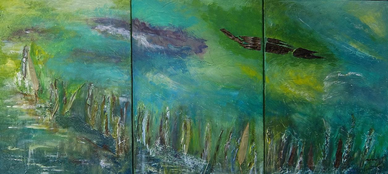 Am Caldonazzo-see 3 x 70 x 50 mit Naturmaterialien, blau, türkis, smaragd grün