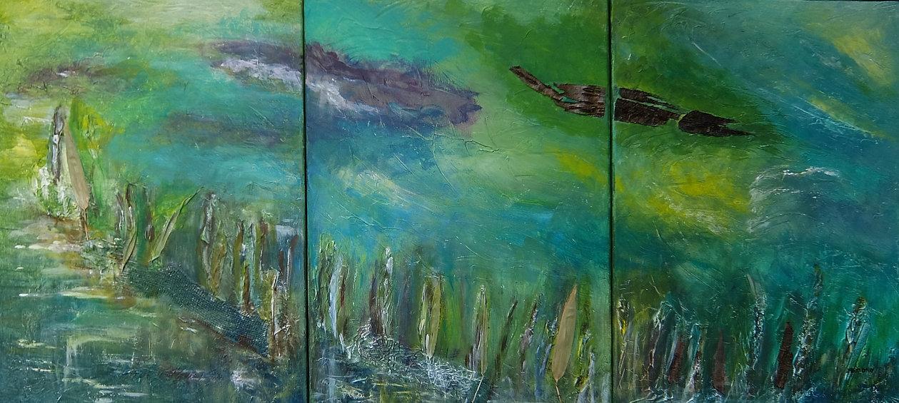 Am Caldonazzo-See 3 x 70 x 50 mit Naturmaterialien, blau, grün, smaragd, türkis