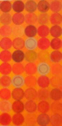 Tres II 60 x 30 orange-gelb-gold Töne -3 Scheiben dominieren die Kreis-Parade.