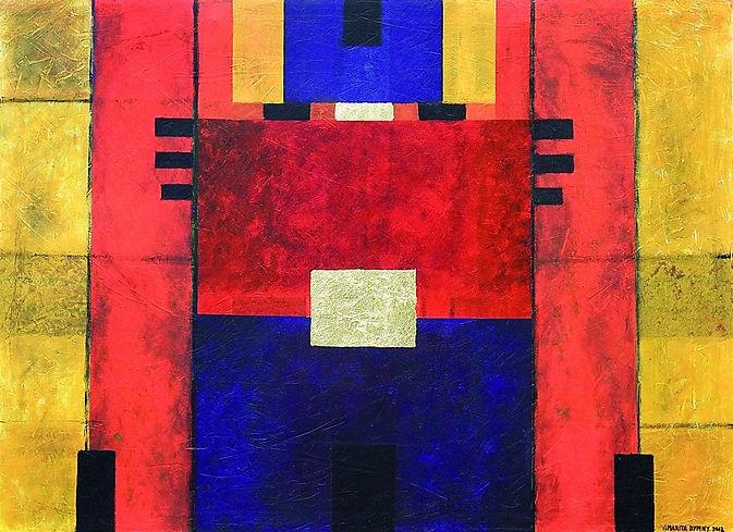 tore II 80 x 120 gelb, ocker, gold, rot, blau, schwarz mit Blattgold