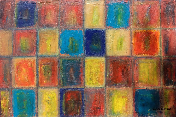 """Nikopol 80 x 120 Feines Steinmehl auf Struktur in Acryl - Die Stadt Nikopol in der Ukraine fördert und verhüttet seit dem Anfang des 19. Jahrhunderts reines Mangan. In diesem Kunstwerk drückt die Künstlerin besonders durch die Rottöne die """"Hitze"""" aus, für die Nikopol steht, jedoch auch die Abkühlung des Mangan durch die Blautöne."""