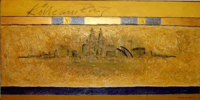 kölle am ring 50 x 100 gelb, ocker, blau, nachtblau, Blattgold