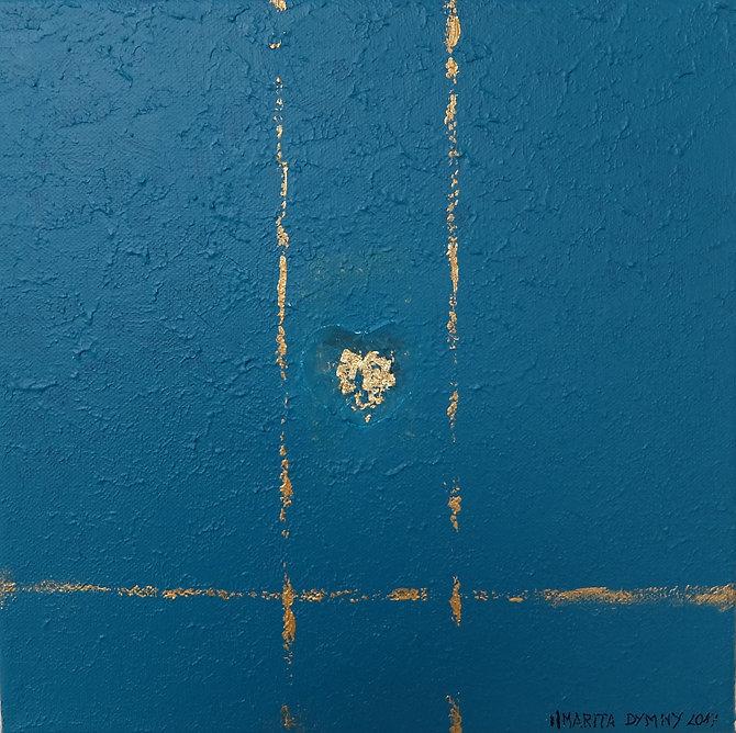 liebe 30 x 30 türkis-blau mit Alpenveilchenblattund Blattgold