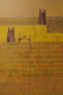 erinnerung anJátiva 100 x 80 braun, ocker, gelb-gold Töne mit Kupferblech - Játiva - eine Stadt in der spanischen Provinz Valencia - kulturell und historisch bedeutungsvoll.