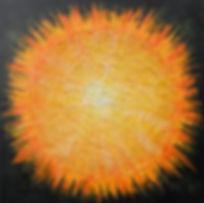 """Alpha 80 x 80 Eine feurige Kombination in orange, gelb,weiß und """"Nacht-Farben""""in Acryl und Papier - Alpha - der Anfang, der Ursprung aller Dinge - der mächtige Urknall, der das unendliche Universum entstehen ließ. EinkleinerFunkebringt unfassbare Welten hervor."""