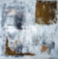 bernia 90 x 90 weiß, schwarz, grau, braun,Steinmehl der verschiedenen Gesteinsschichten - Die Sierra de Bernia ist ein Gebirgszug in der Provinz Valencia (Spanien). Das Bild ist mit Steinmehl der verschiedenen Gesteinsschichten gemalt.