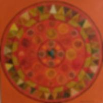 HARMONIE 40 x 40 orange-oliv-Töne auf orange mit  Blattgold, Palmfasern und Jadestein - Harmonie in Form und Farbe