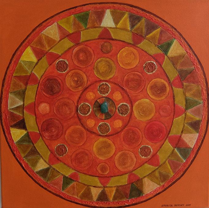 HARMONIE 40 x 40 orange-oliv-Töne auf orange mit Blattgold, Palmfaser und Jadestein - Harmonie in Form und Farbe