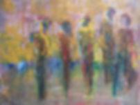 fünf freundinnen 25 x 35 ocker, gelb, weinrot, blau, grün, aubergine