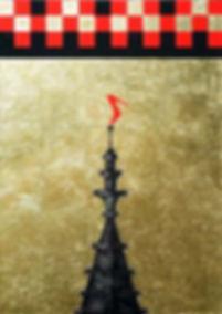 Köln - heilig - unheilig 100 x 70 schwarz, rot, Blattgold - Die Spitze des Kölner Doms mit einem roten Schuh - dem Symbol der Erotik - greift das Thema Kirche und Sex auf.