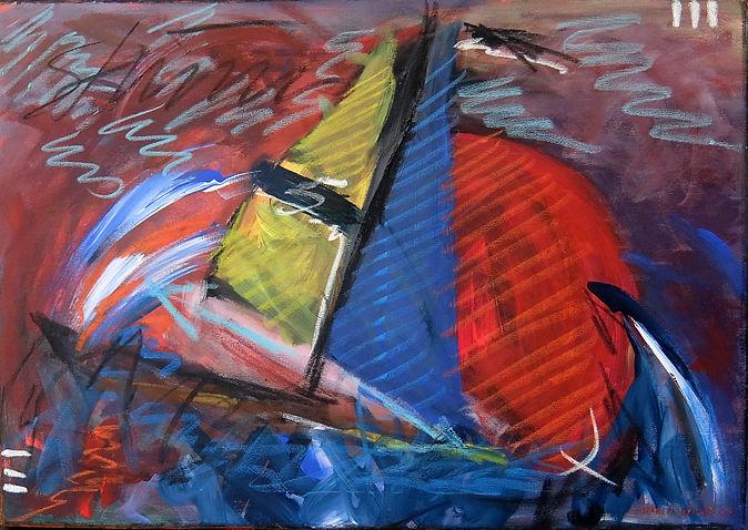 Sturmfahrt 50 x 70, rot, blau, gelb, aubergine