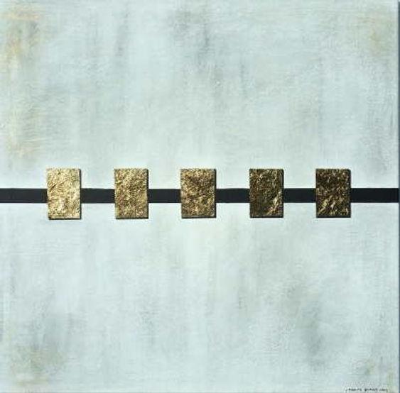 spiegelung 100 x 100 weiß, blau-grau, schwarz mit Palmfaser und Blattgold