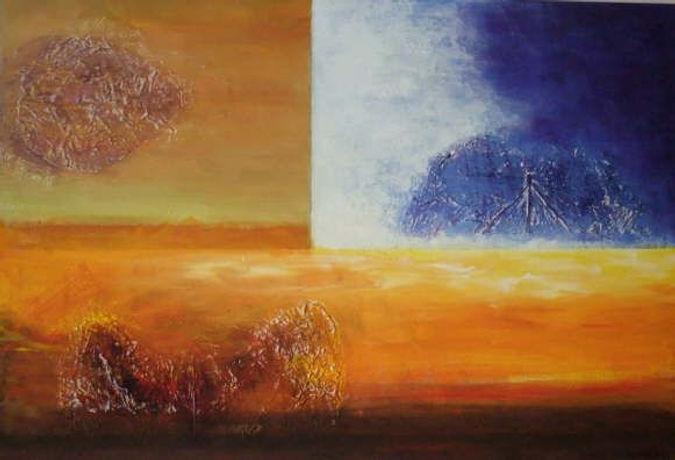 spanischer sommer 50 x 70 orange, ocker, braun, weiß, blau, Gummibaumblatt, Palmschote, Palmelemente