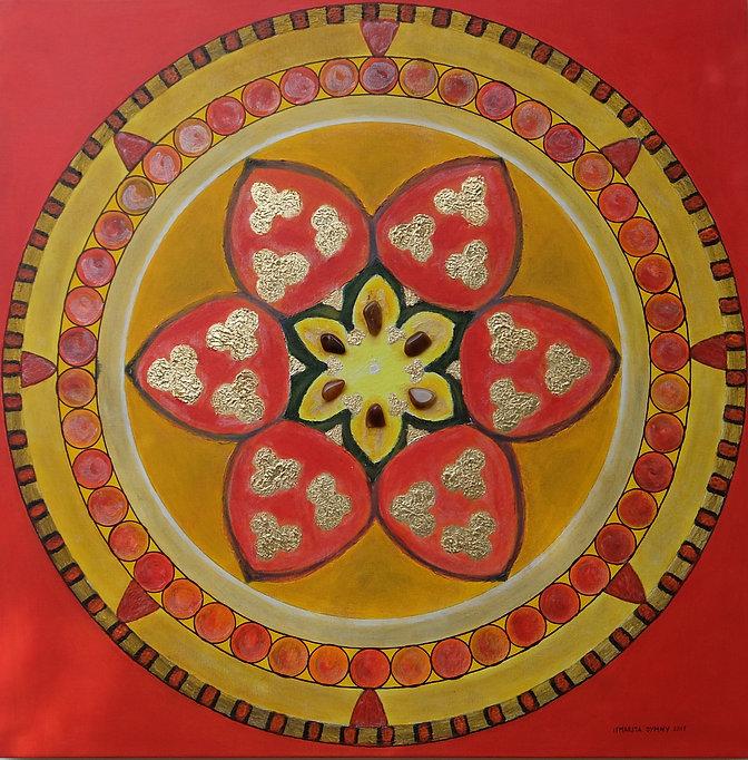 """ROSE 80 x 80 orange-ocker, Blattgold und Sardersteine - Das Bild ist mit 6 Sarder-Steinen bestückt. (Sarder hilft, belastende Situationen zu meistern und Enttäuschungen zu verarbeiten.)    Das Bild entstanddurch eine Inspiration im Dom zu Magdeburg. Immer schon haben Marita Dymny die sogenannten """"Rosenfenster"""" der gotischen Kathedralen fasziniert.    Die Bedeutung der Rose lässt sich sogar bis in die Urzeit zurückverfolgen. Man fand sie auch in Form einer Fossilie. Ihre Schönheit und ihr Duft hat schon viele Menschen fasziniert.    Hildegard von Bingen verwendete sie als Heilpflanze.In der asiatischenVolksmedizin werden getrocknete Blüten, Blätter und Wurzeln angewendet.   Die Aromatherapie setzt den Rosenduft zu therapeutischen Zwecken ein. Er soll Entspannung verschaffen.    In der Lyrik wie in der Prosa taucht die Rose als die am häufigsten benannte und verherrlichte Blume auf.Rote Rosen gelten seit jeher als Symbol von Liebe, Freude und Jugendfrische."""