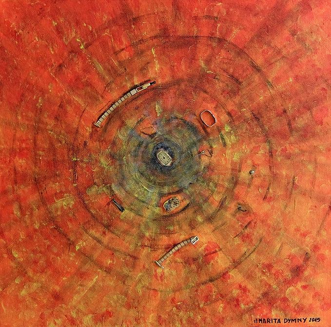 """DIE UNRUH 40 x 40 orangetöne mit grau und massiven Uhrenelementen - Die Unruh(e) der heutigen Zeit - zerlegt in ihre Bestandteile als Zeichen dafür, das """"Zeit"""" nicht wirklich existent ist."""