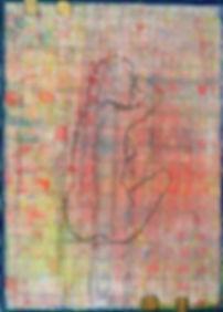 gefangen 110x 80 rot, gelb, blau, nachtblau weiß, schwarz mit Blattgold