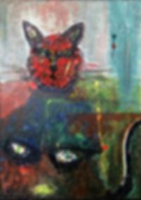 Katze Berlin (Zerstreutheit) 70 x 50 Acryl
