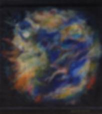 SUPERNOVA 150 x 140 Nachtblau mit gelb, orange, grün- EineSupernova - das kurzzeitige, helle Aufleuchten eines Sternsam Ende seiner Lebenszeit durch eine Explosion, bei der der ursprüngliche Stern selbst vernichtet wird.