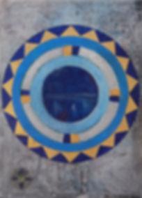 amritsarII 70 x 50 blau, gold, weiß, schwarz, grau mit Blattgold - Amritsar ist eine Millionenstadt im indischen Bundesstaat Punjab. Die Stadt ist das spirituelle Zentrum des Sikhismus. Hier wurde am 13. April 1010 ein Massaker von britischen Soldaten und Gurkhas an Sikhs, Muslimen und Hindus verübt, die für die Unabhängigkeit Indiens protestierten.