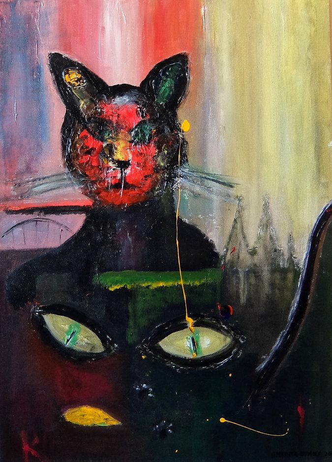 Katze Köln (Gelassenheit) 70 x 50 Acryl