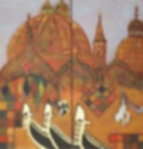 venedig 2 je 60 x 30 braun-bunt mit Blattgold