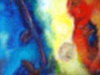 Spanische Impression 70 x 90 Blautöne, grün, gelb, rot-orange mit Blättern und Blattteilen, Palmschote und Spiegelelementen