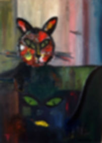 Katze Frankfurt (Gier) 70 x 50 Acryl